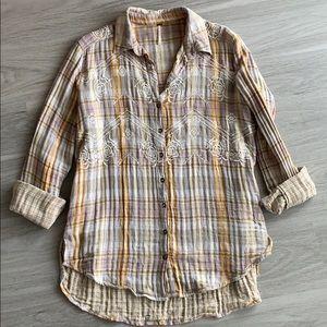 Free People Magical Plaid Buttondown Top